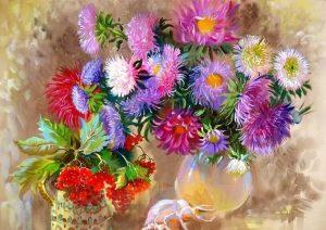 рисование цветы для мамы, картина астры и калина