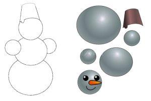 игра собери фигуру, шаблон снеговик