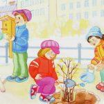 прогулка в детском саду весна