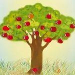 рисование яблоня в детском саду